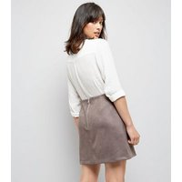Grey Suedette A-Line Mini Skirt New Look