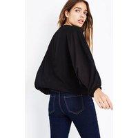 Mela Black Zip Front Batwing Sleeve Top New Look