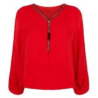 Mela Red Zip Front Batwing Sleeve Top New Look