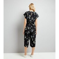Black Floral Print Wrap Front Culotte Jumpsuit New Look