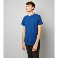 Blue Cotton Rolled Sleeve T-Shirt New Look