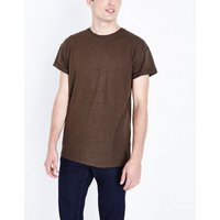 Brown Rolled Sleeve T-Shirt New Look