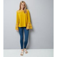 Blue Vanilla Yellow Lace Frill Sleeve Top New Look