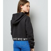 Teens Black NYC Hem Printed Hoodie New Look