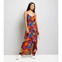 Petite Orange Floral Print Wrap Front Maxi Dress New Look