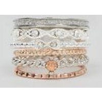6 Pack Metallic Diamante Stacking Rings New Look