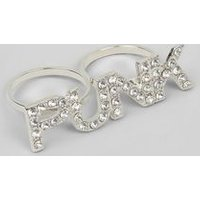 Silver Crystal Punk Double Ring New Look