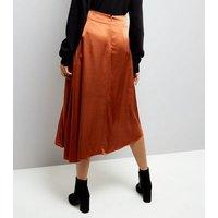 Brown Asymmetric Satin Midi Skirt New Look