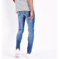 Blue Distressed Skinny Stretch Jeans New Look