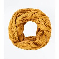 Yellow Cable Knit Snood New Look