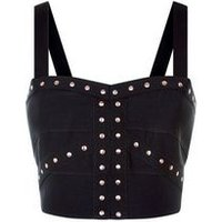 Black Studded Bandage Bralet New Look