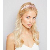 Pink Velvet Pearl Embellished Hair Band New Look