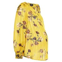 Maternity Yellow Stripe Floral Print Blouse New Look
