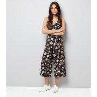 Mela Navy Floral Culotte Jumpsuit New Look