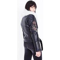 Blue Vanilla Black Embroidered Faux Fur Collar Biker Jacket New Look