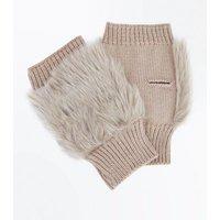 Mink Faux Fur Panel Handwarmer Gloves New Look
