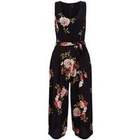 Cameo Rose Black Floral Culotte Jumpsuit New Look
