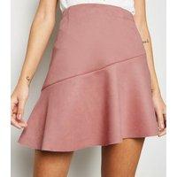 Pale Pink Suedette Asymmetric Mini Skirt New Look
