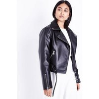 Petite Black Leather-Look Biker Jacket New Look