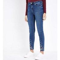 Blue Floral Embroidered Hem Skinny Jenna Jeans New Look