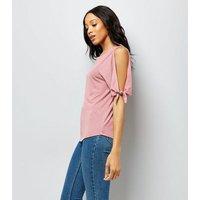 Pink Tie Sleeve Cold Shoulder Tie Sleeve T-Shirt New Look