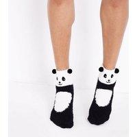 Black Panda Boucle Slipper Socks New Look