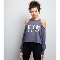 Navy Gym & Tonic Slogan Cold Shoulder Sports Sweater New Look