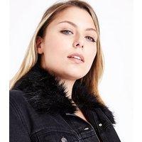 Curves Black Faux Fur Collar Denim Jacket New Look
