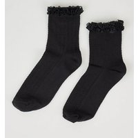 Black Frill Trim Cable Ankle Socks New Look