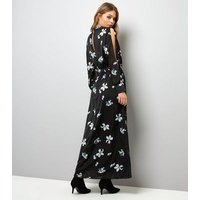Mela Black Floral Print High Neck Maxi Dress New Look