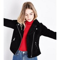 Black Suede Biker Jacket New Look