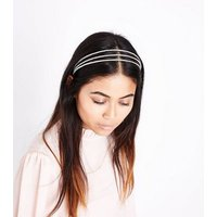 Silver Diamante Embellished Triple Hair Band New Look