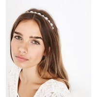 Rose Gold Diamante Embellished Hair Band New Look