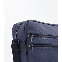 Navy Double Zip Messenger Bag New Look