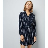 Mela Navy Polka Dot Shirt Dress New Look