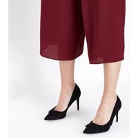 Black Suedette Frill Trim Pointed Courts New Look