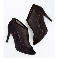 Black Floral Embroidered Mesh Peep Toe Stiletto Heels New Look