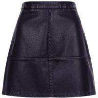 Petite Black Leather-Look Mini Skirt New Look
