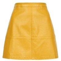 Petite Yellow Leather-Look Mini Skirt New Look