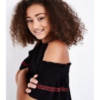 Teens Black Floral Woven Embroidered Cold Shoulder Top New Look