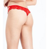 Red Strappy Lace Thong New Look