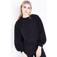 Black Balloon Sleeve Sweatshirt New Look