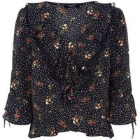 Petite Black Floral Star Print Frill Trim Top New Look