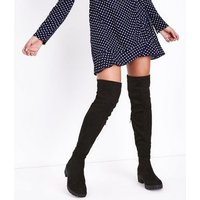 Black Suedette Cleated Sole Over the Knee Boots New Look