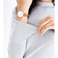 Light Brown Strap Curved Shoulder Watch New Look