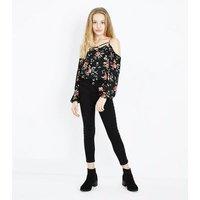 Teens Black Floral Print Cold Shoulder Top New Look