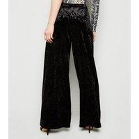 Petite Black Velvet Wide Leg Trousers New Look