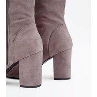 Wide Fit Grey Suedette Block Heel Knee High Boots New Look