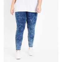 Curves Navy Acid Wash High Waist Skinny Jeans New Look