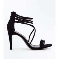 Black Suedette Tube Strap Stiletto Sandals New Look